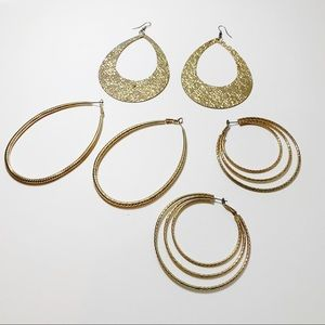 3 Pair Oversized Gold Statement Earrings